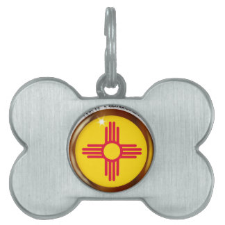 New Mexico Proud Flag Button Pet ID Tag