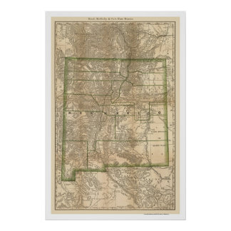 New Mexico Railroad Map 1879 Poster