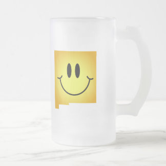New Mexico Smiley Face Frosted Glass Beer Mug