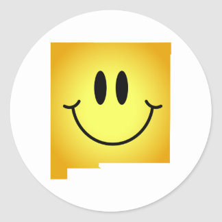 New Mexico Smiley Face Round Sticker