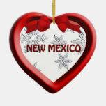 New Mexico Snowflake Heart Christmas Ornament