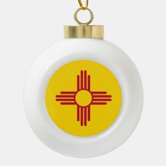 New Mexico State Flag Ceramic Ball Christmas Ornament
