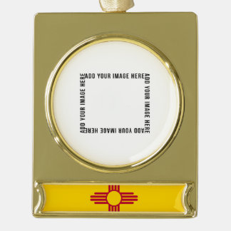 New Mexico State Flag Gold Plated Banner Ornament