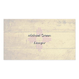 New Mexico State Flag on Old Wood Grain Business Cards