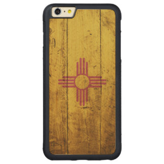 New Mexico State Flag on Old Wood Grain Carved® Maple iPhone 6 Plus Bumper