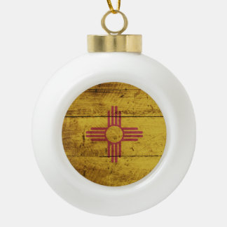 New Mexico State Flag on Old Wood Grain Ceramic Ball Christmas Ornament