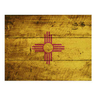 New Mexico State Flag on Old Wood Grain Postcard