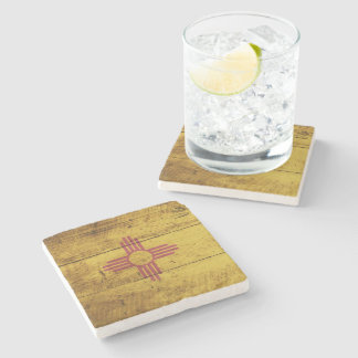 New Mexico State Flag on Old Wood Grain Stone Coaster