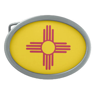 New Mexico State Flag Oval Belt Buckle