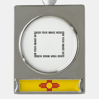 New Mexico State Flag Silver Plated Banner Ornament