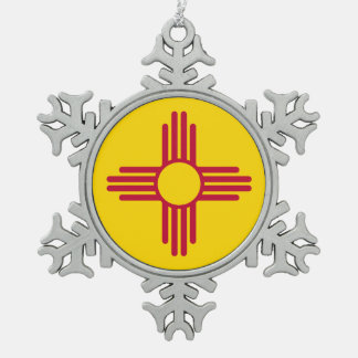 New Mexico State Flag Snowflake Pewter Christmas Ornament