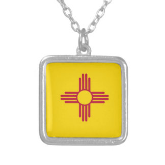 New Mexico State Flag Square Pendant Necklace
