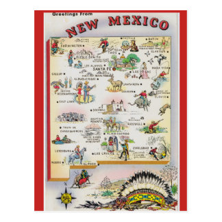 New Mexico State  Map Postcard