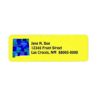New Mexico State Map Shape NM Return Address Label