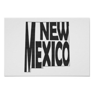 New Mexico State Name Word Art Black Poster
