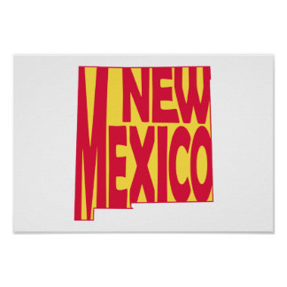 New Mexico State Name Word Art Red Poster
