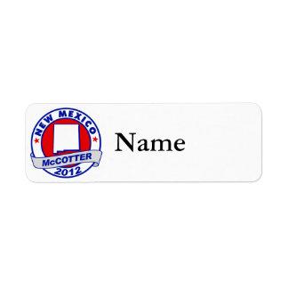 New Mexico Thad McCotter Return Address Label