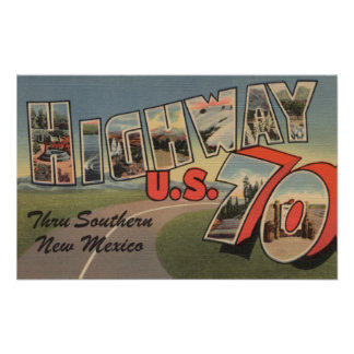 New Mexico - U.S. Highway 70 - Large Letter Poster