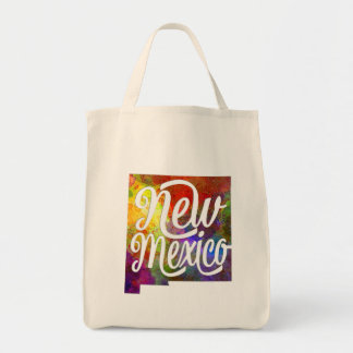 New Mexico U.S. State in watercolor text cut out Tote Bag