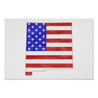 New Mexico USA flag silhouette state map Poster