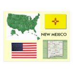 new, mexico, flag, map, united, states, usa,