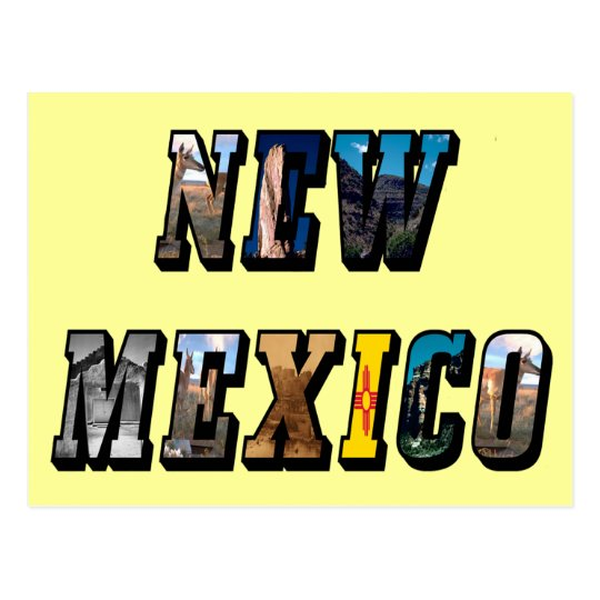New Mexico, USA Text Postcard