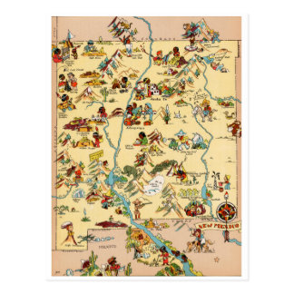 New Mexico Vintage Funny Map Postcard