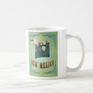 New Mexico Vintage State Map – Green Coffee Mug