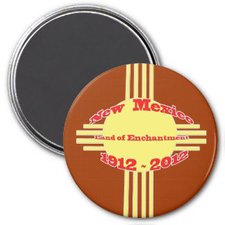 New Mexico - Zia Centennial Celebration 3 Inch Round Magnet