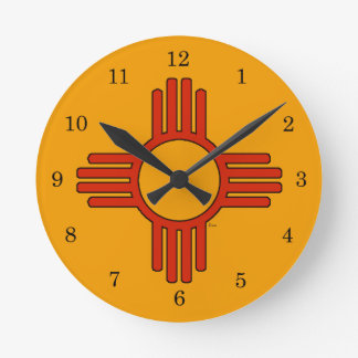 New Mexico Zia Round Wall Clocks