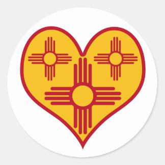 New Mexico Zia Heart Classic Round Sticker