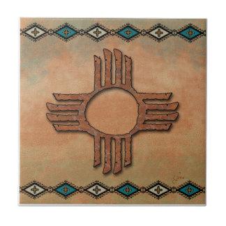 New México Zia (sol) Azulejo Cuadrado Pequeño