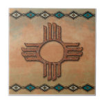 "New Mexico Zia (sun) Ceramic Tile<br><div class=""desc"">Use of decorative ceramic tiles can add that special flair to your southwestern design project.</div>"