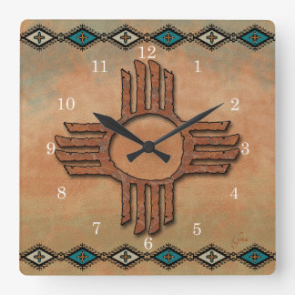 New Mexico Zia sun Wall Clock