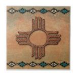 New Mexico Zia (sun) Small Square Tile
