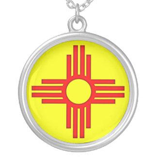 New Mexico Zia Sun Symbol Silver Plated Necklace