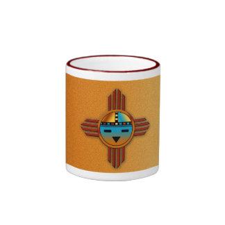 New Mexico Zia Sunface Ringer Coffee Mug