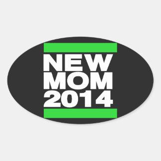 New Mom 2014 Green Oval Sticker