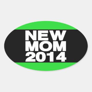 New Mom 2014 Lg Green Oval Sticker