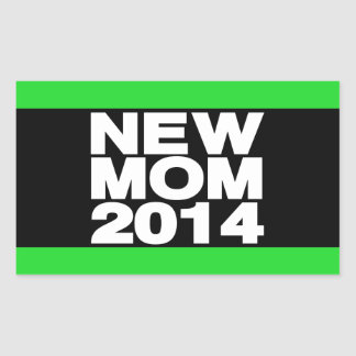 New Mom 2014 Lg Green Rectangular Sticker