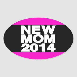 New Mom 2014 Lg Pink Oval Stickers