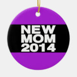 New Mom 2014 Lg Purple Double-Sided Ceramic Round Christmas Ornament