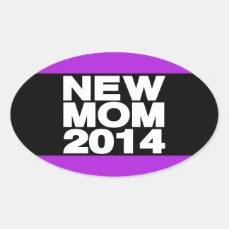 New Mom 2014 Lg Purple Oval Stickers