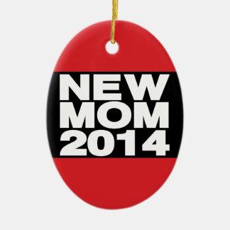 New Mom 2014 Lg Red Ceramic Ornament