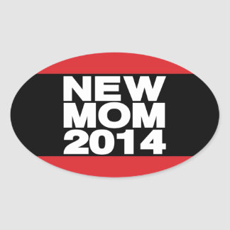 New Mom 2014 Lg Red Oval Sticker