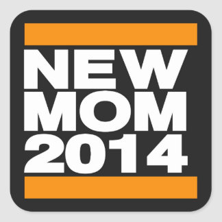 New Mom 2014 Orange Square Sticker