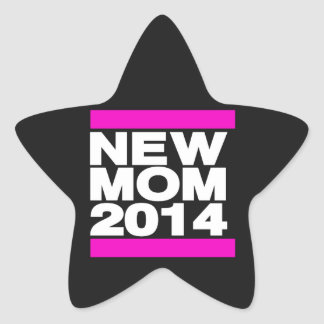 New Mom 2014 Pink Star Sticker