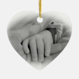 New Mom and Baby Holding Hands Photo Ceramic Ornament