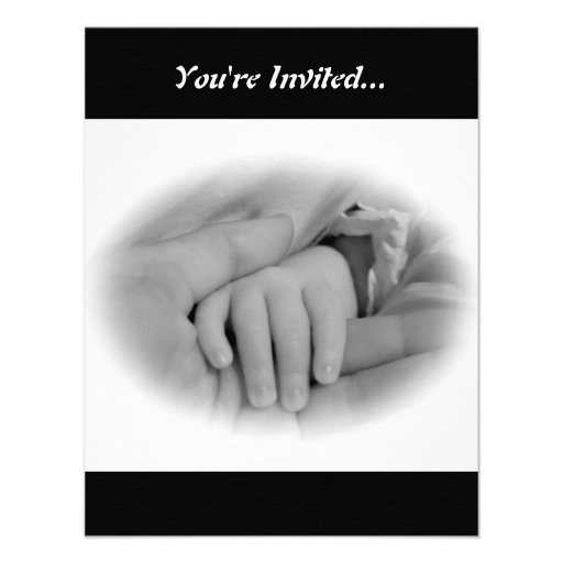 New Mom and Baby Holding Hands Photo Personalized Announcement