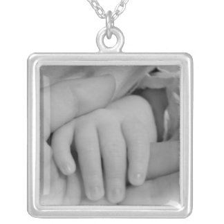 New Mom and Baby Holding Hands Photo Silver Plated Necklace
